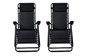 2-Pack Zero Gravity Lounge Patio Chairs Black $54.90 + free shipping