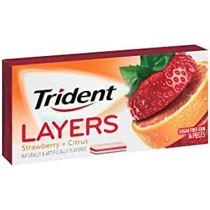 Trident Layers Strawberry + Citrus Sugar Free Gum - 12 Packs (168 Pieces Total) $5.36+free ship w/ Prime