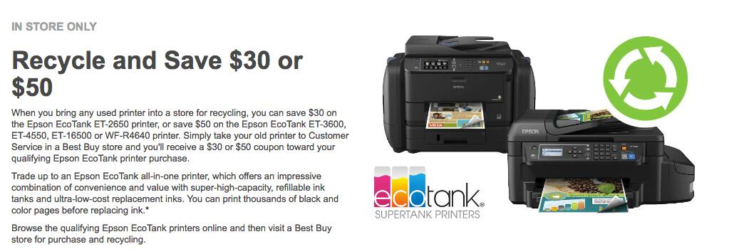 ET-4550 for $350. Recycle your old printer and Save $30 or $50 towards a new Epson Eco-Tank at Best Buy