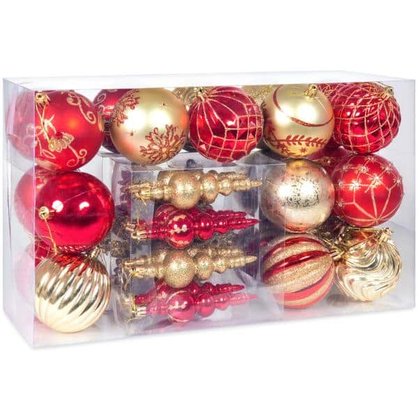 Handcrafted Luxury Collection Set of 40 Christmas Ball Ornaments - Red & Gold for $14.99 + FS
