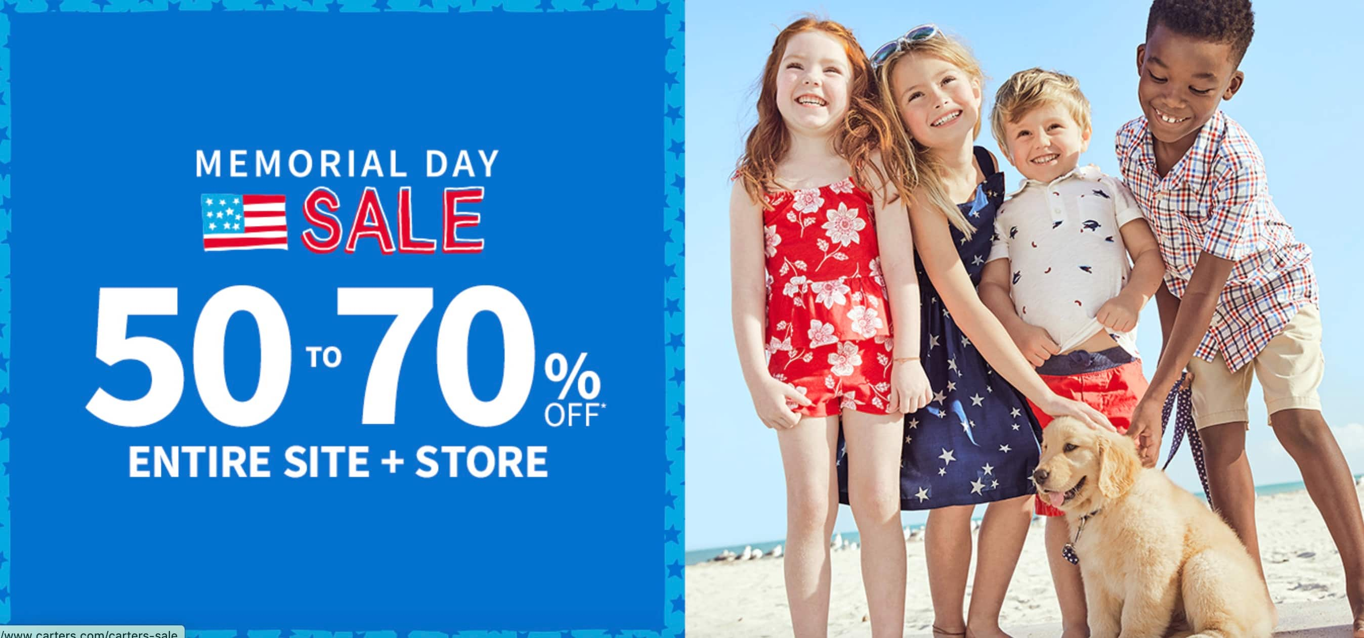 Carters sitewide 50-70% off, free shipping at $35 $8.4