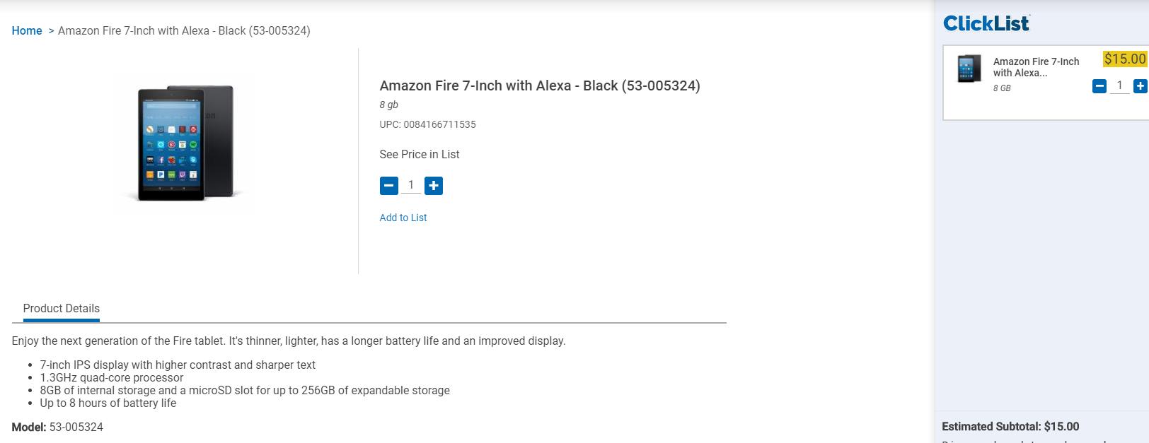 "Amazon Fire 7"" Tablet $15 Free Store Pickup - Kroger Stores Clicklist - YMMV"