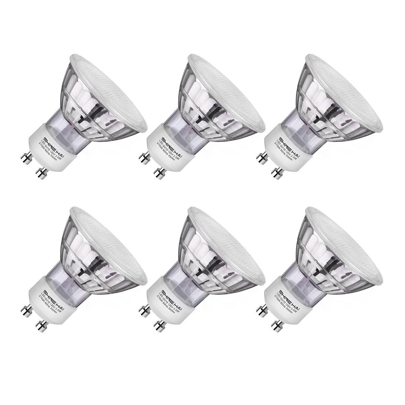 6 Pack SHINE HAI GU10 LED Bulbs 2700K/5000K $5.99 FS w/ Prime