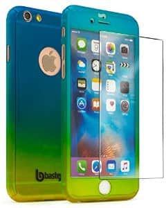"iPhone 6 4.7"" Bastex Full Body Blue/Gold Hard Snap-On Case w/Tempered Glass Screen Protector - $1 AC + FS"