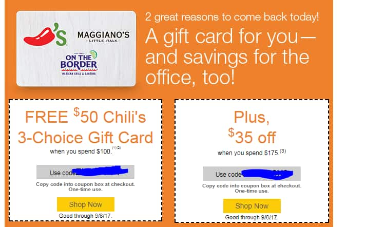 YMMV - Quill.com, Free $50 Chili's, Maggiano's, On the Border Gift Card with $100 Purchase + $35 off $175 (For Current Email Subscribers)