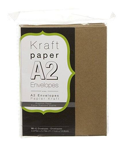 1-2 Month Ship - Darice Smooth A2 Envelopes, 4.375 x 5.75-Inch, Kraft, 50-Pack - $1 + FS w/Prime