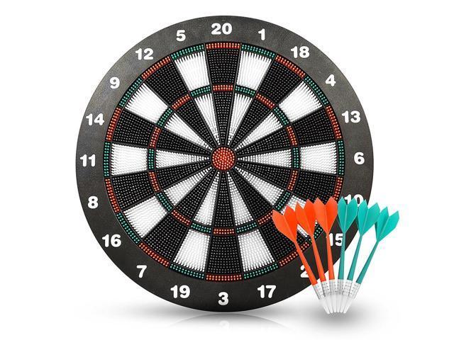 YMMV - Safety Darts Equipment Dartboard Set with 6 Darts Room Board Games-16 Inch Stipple Dart Board - FREE + FS