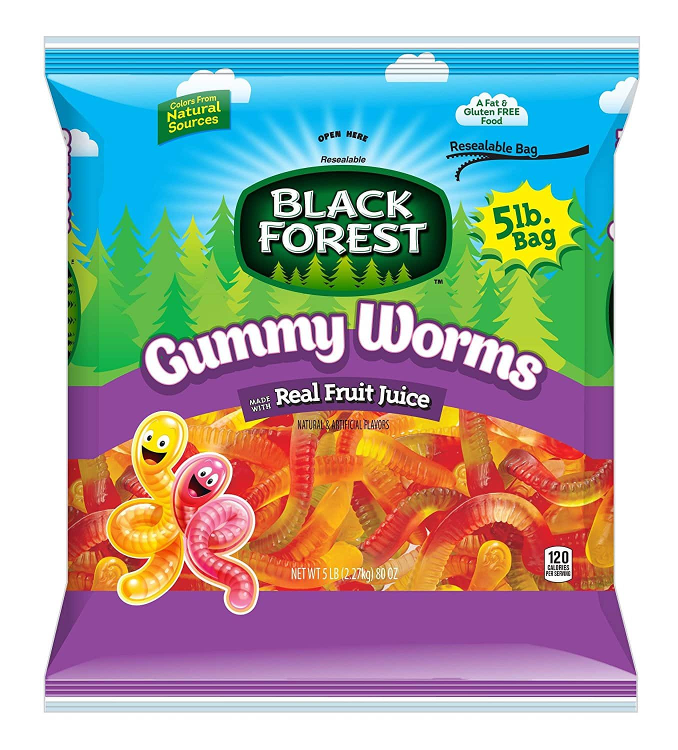 5lb Bag of Black Forest Gummy Worms Candy for $9.99 AC + Free Prime Shipping