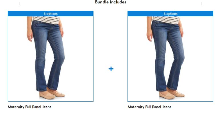 Walmart Store Pickup: 2-Count Full-Panel 5-Pocket Bootcut Maternity Jeans for $0.12 + Free Store Pickup (YMMV)