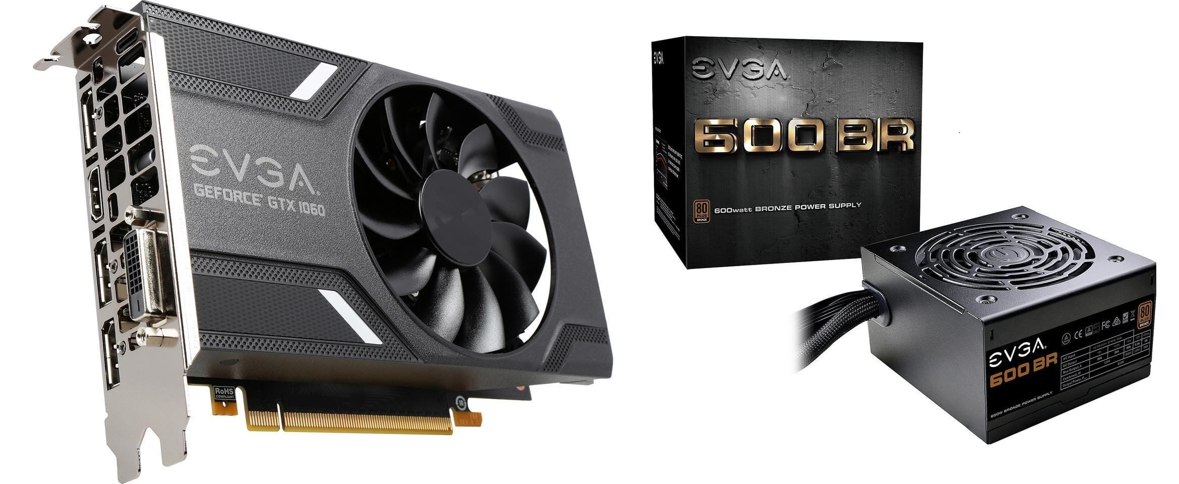 EVGA GeForce GTX 1060 6GB + EVGA 600W BR Power Supply