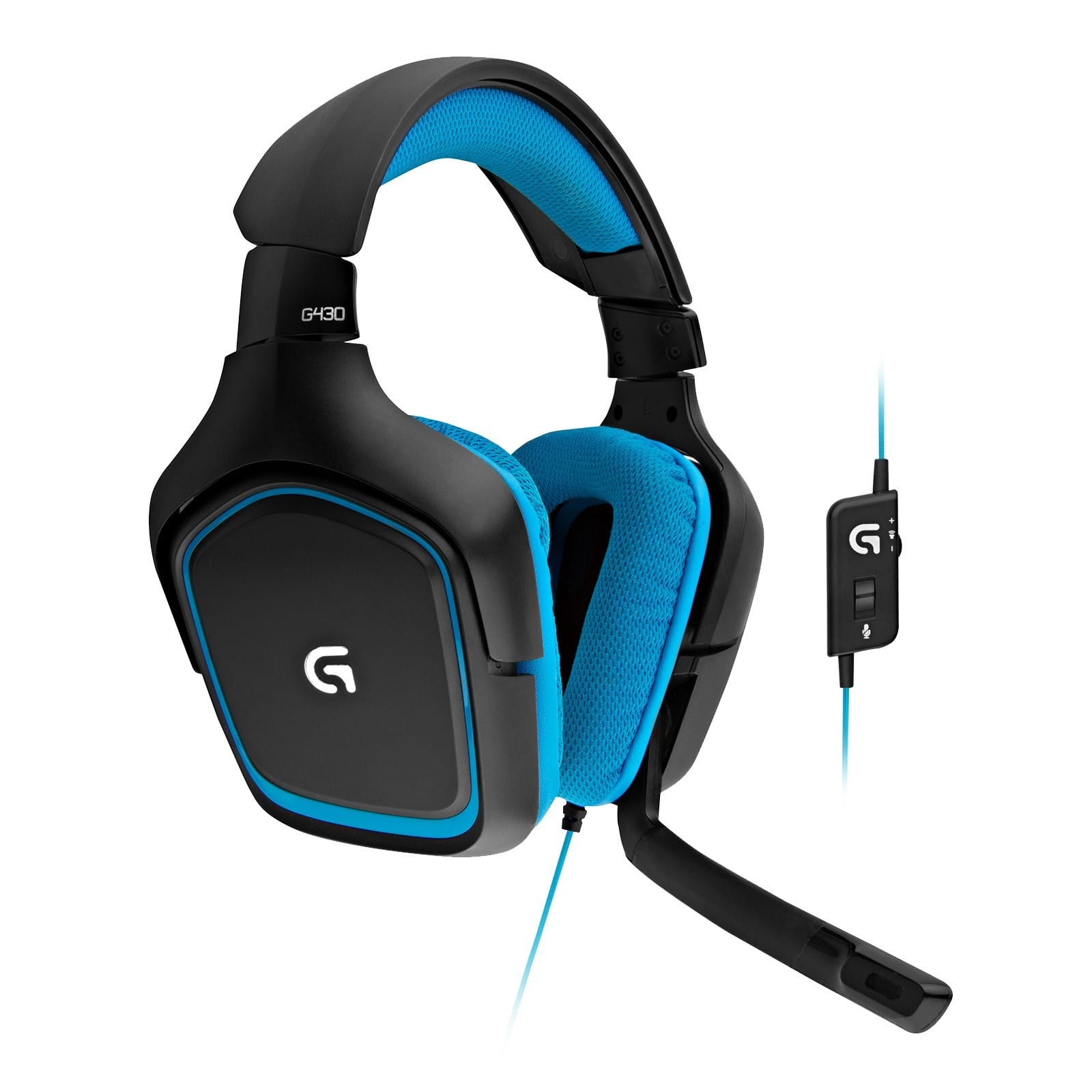 435e5f32b66 Logitech G430 Surround Sound Gaming Headset (Black/Blue ...