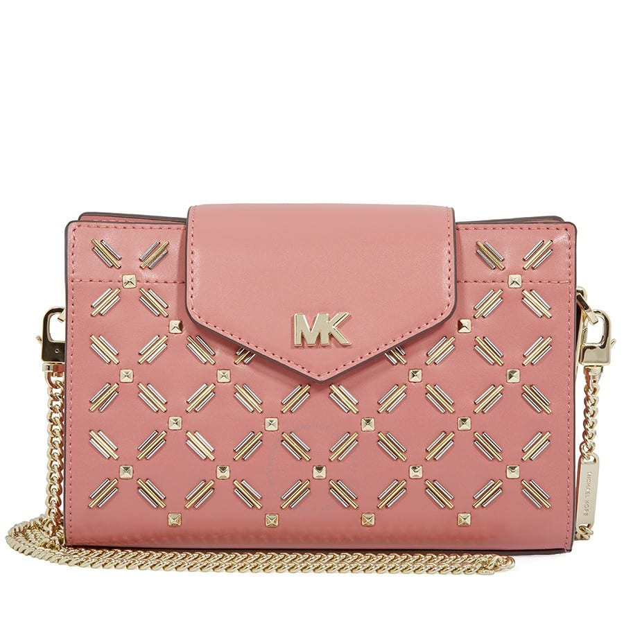 27f1dcb94eca Michael Kors Medium Floral Leather Crossbody Clutch (Rose ...