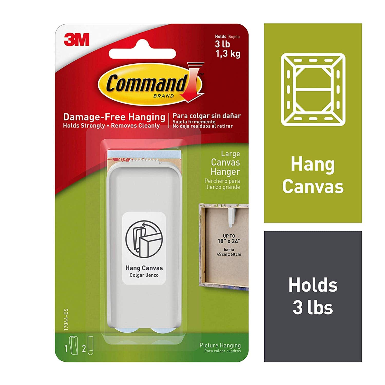 Command Large Canvas Hanger (1 Hanger + 2 Strips) $0.97 + Free Prime Shipping