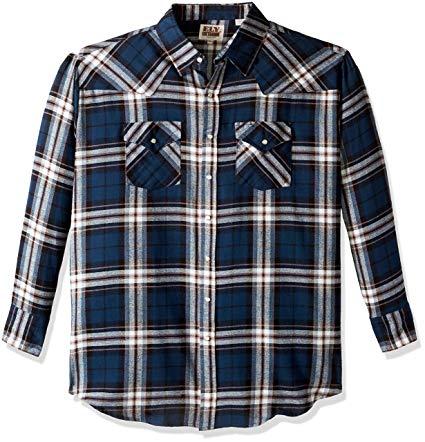 Add-on Item: Ely & Walker Men's Long Sleeve Western Flannel (XX-Large, Blue Plaid) $4.31