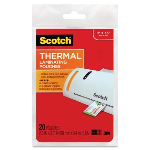20-Count Scotch Thermal Laminating Pouches (2 3