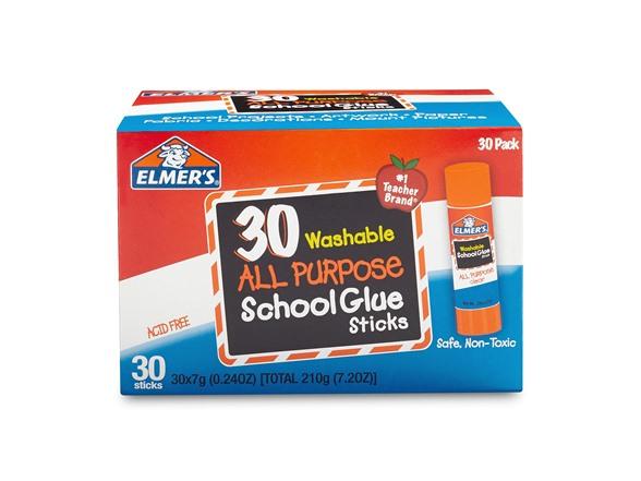 30-Count Elmer's All Purpose School Glue Sticks, Washable $4.99 + Free Prime Shipping