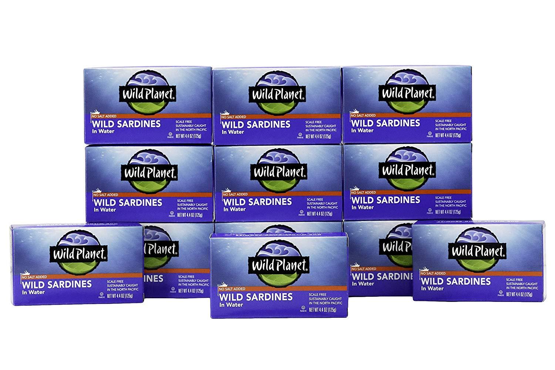 Lightning Deal: 12-Pack 4.4oz Wild Planet Sardines in Water, No Salt Added $8.29 AC