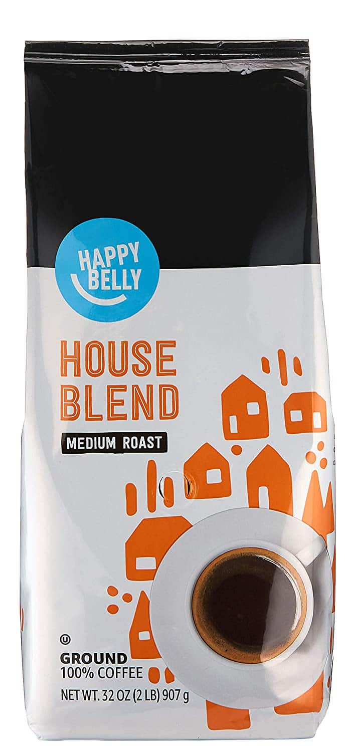 32-Ounce Happy Belly Ground Coffee (French Roast, House Blend or Colombian) $6.79 Each + Free Prime Shipping