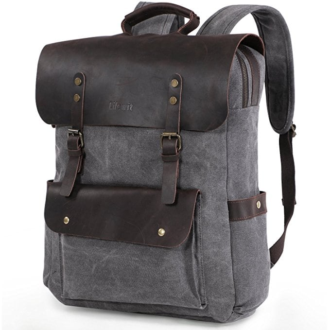 Lifewit 17 inch Canvas Backpack Vintage Leather Laptop School Bag Travel Daypack $29.99
