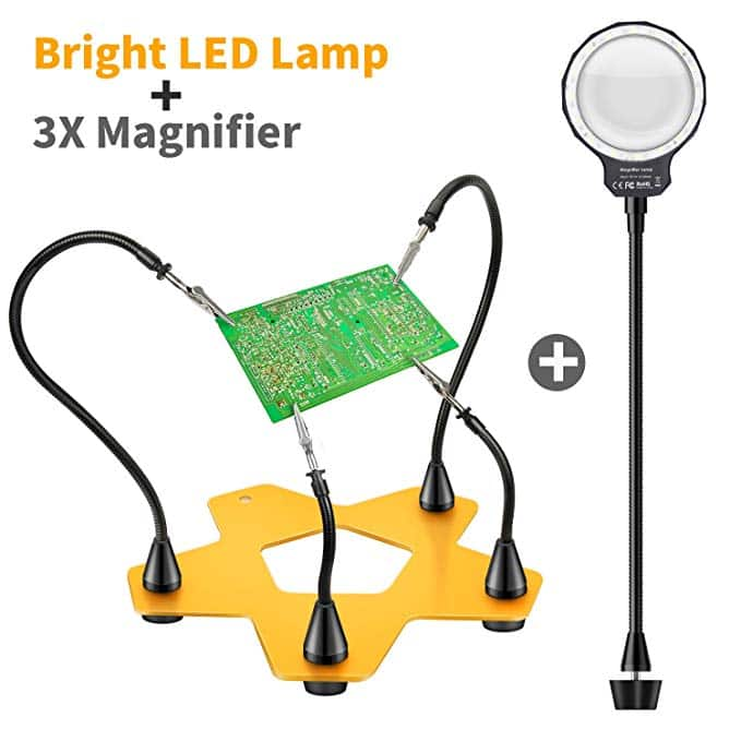 E-More LED Helping Hands Soldering Magnifier Station, 3X Magnifying Glass Third Hand Soldering Tool Vise, Clip On Optical Glass Magnifier Lens Daylight LED Magnifying Lamp $20.00