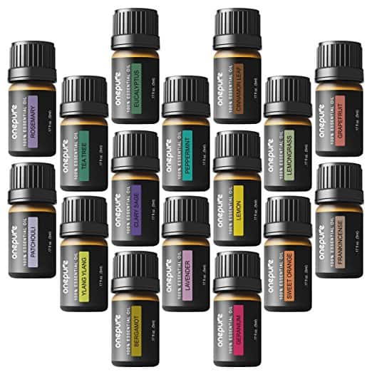 Onepure Aromatherapy Essential Oils Gift Set, 16 Bottles/5ml each, 100% Pure (Ylang Eucalyptus Lemon Peppermint Lavender Lemongrass Clary Sage Rosemary and More) $19.77