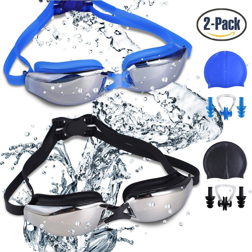 [2 pack]Swimming Goggles Leak Free UV Protection Anti Fog with Swimming Caps, Nose Clips, Ear Plugs $6.49
