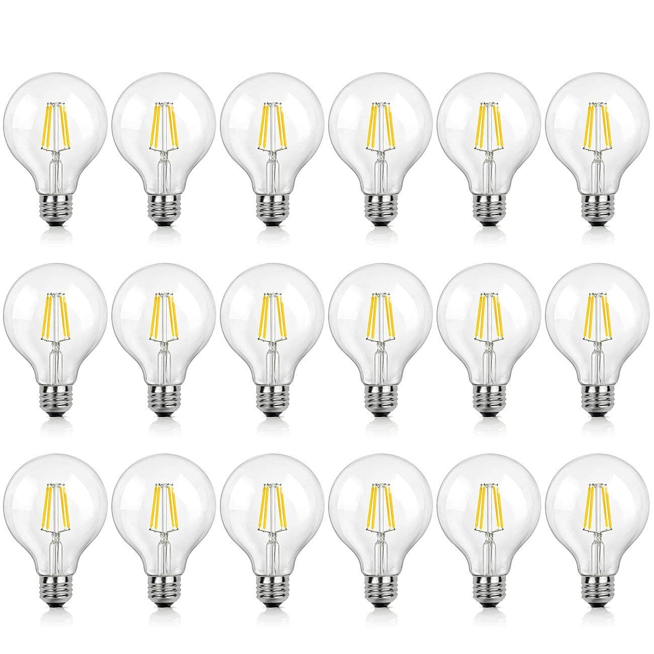 18-Pack G25 LED Filament Bulbs 2700K Warm White $19