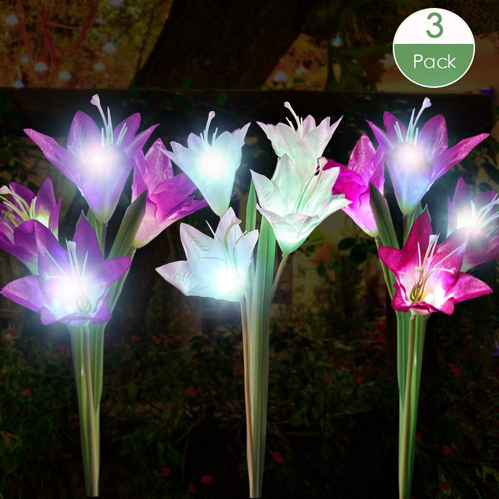Outdoor Solar Garden Stake Lights 3 Pack with 12 Lily Flowers $10.79