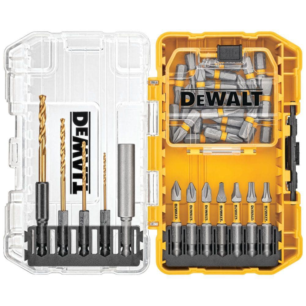 DEWALT Driving Bit and Black Oxide Drill Bit Set with Right Angle Adapter and Tough Case (40-Piece)-DWAC40SETRA - The Home Depot $19.88
