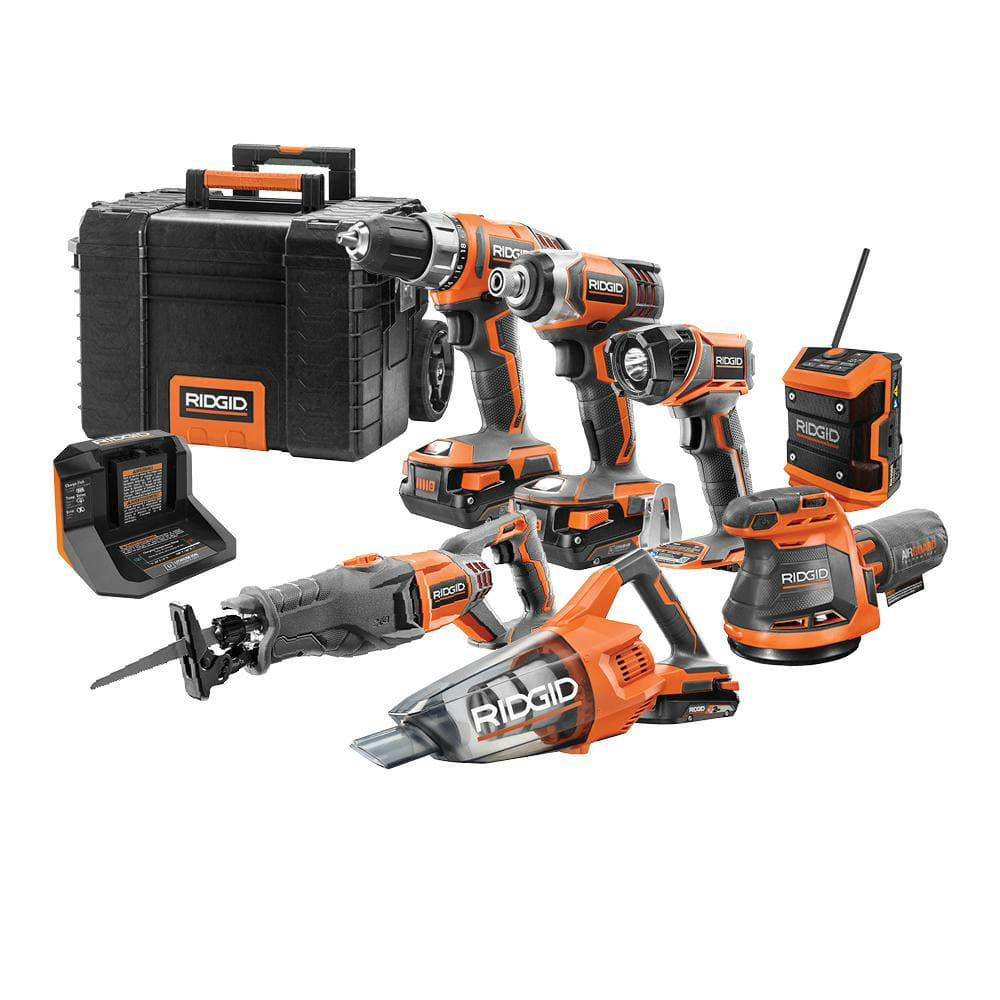 RIDGID 18V Cordless Combo Kit (7-Tool) with Rolling Keter Case, (3) 2.0 Ah Batteries and Charger-R9257SB - The Home Depot $299