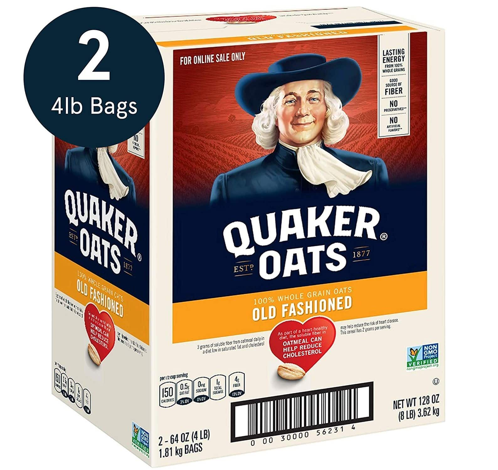 Quaker Old Fashioned Rolled Oats, Non GMO Project Verified, Two 64oz Bags _ $7.47 at Amazon