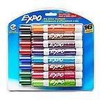 EXPO® Low-Odor Dry-Erase Markers, Chisel Point, Assorted Colors, Pack Of 16 $13.79