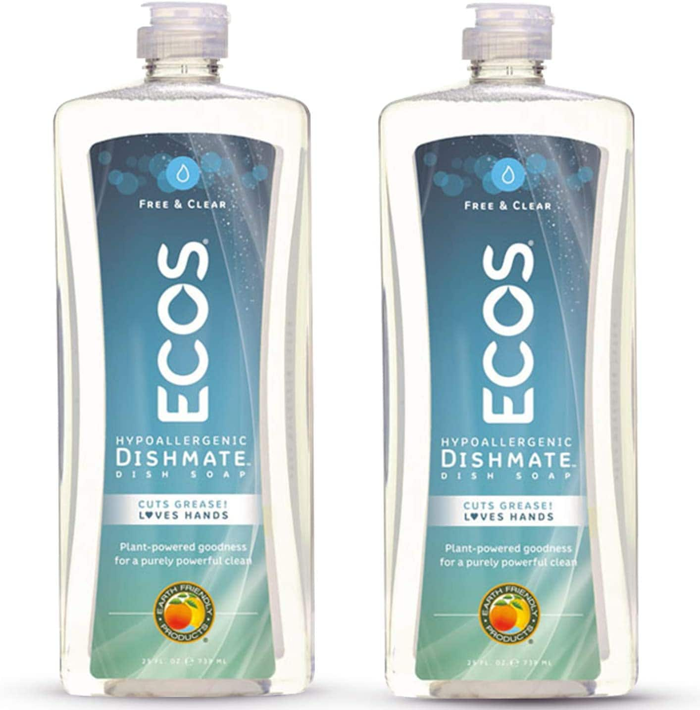 Earth Friendly Products ECOS Dishmate Hypoallergenic Dish Soap, Free & Clear, 25 oz Bottle (Pack of 2) $4.76
