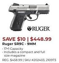 Gander Outdoors Black Friday: Ruger SR9C, 9mm for $448 99