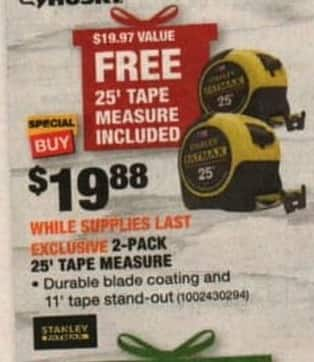 Home Depot Black Friday Stanley 2 Pack 25 Tape Measure For 19 88