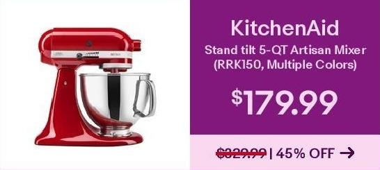 Ebay Black Friday Kitchenaid Stand Mixer Tilt 5 Qt Rrk150 All Metal Refurbished Select Styles For 179 99