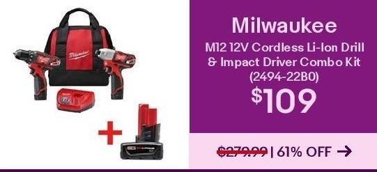 black friday: milwaukee m12 12v cordless li-ion drill & impact ...