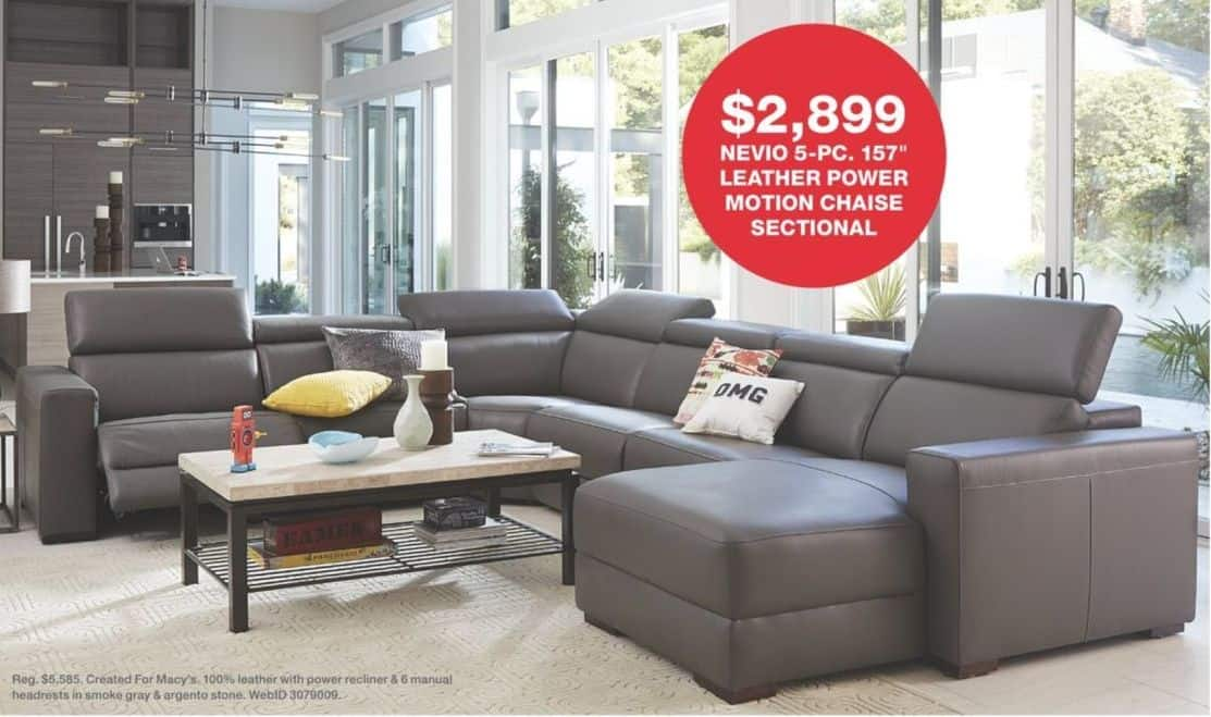 Picture of: Macy S Black Friday Nevio 5 Pc 157 Leather Fabric Power Reclining Sectional Sofa With Articulating Headrests Collection Select Colors For 2 899 00