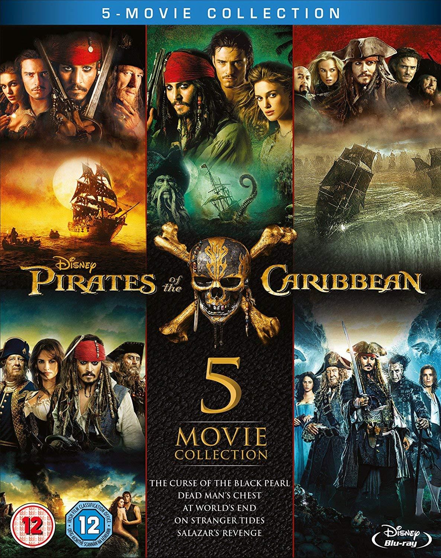 Amazon.uk: Pirates of the Caribbean 1-5 (Blu-ray) [2017] [Region Free] for $21 shipped