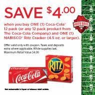 Deal: My Coke Rewards MCR Coupon for $4 off WYB 1-Coke 12pk and 1-1Ritz Cracker item