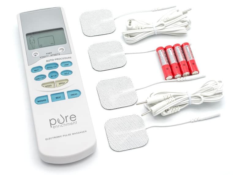 PurePulse Handheld Electronic TENS Unit Muscle Massager with Electrodes $15