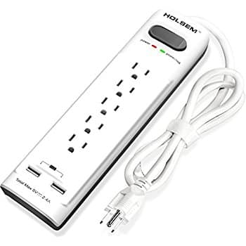 Outlets Surge Protector Power Strip with 2 USB Charging Ports (5V/2.4A) and 4' Heavy Duty Extension Cord $10.5 AC @ Amazon