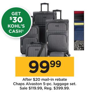 00a9eca6e Kohl's Black Friday: Chaps Alvaston 5-pc. Luggage Set + $30 Kohl's .