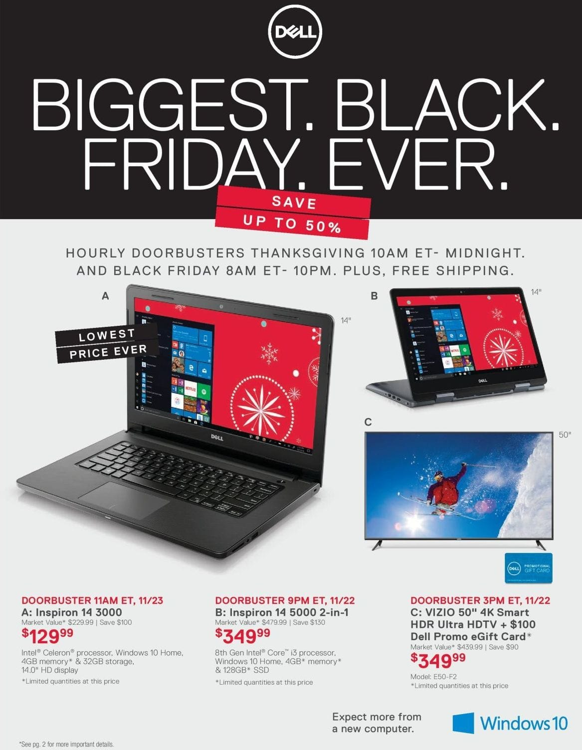 Dell Home Office Black Friday Inspiron 14 5000 2 In 1 Laptop 8th Gen Intel I3 4GB RAM 128GB SSD Windows 10 For 34999