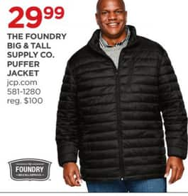 e1f71f21f0b8 JCPenney Black Friday  The Foundry Big   Tall Supply Co. Men s Puffer  Jacket for