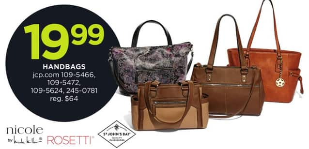 Jcpenney Black Friday Nicole By Miller St John S Bay And Rosetti Handbags