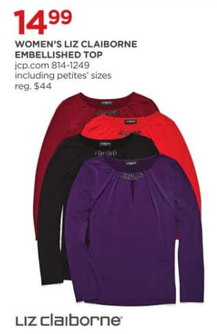 a5b4fcda74d JCPenney Black Friday: Liz Claiborne Women's Embellished Top for $14.99