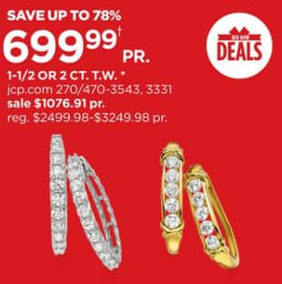 1d94cfd07 JCPenney Black Friday: 1-1/2 or2 CT. T.W. Diamond Hoop Earrings for $699.99