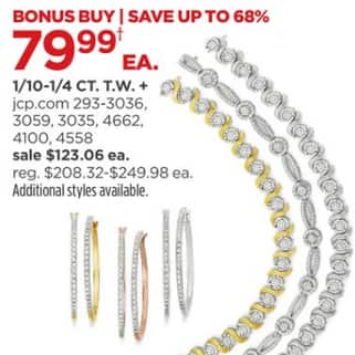 a5bfa7d0a JCPenney Black Friday: 1/10 - 1/4 CT. T.W. Diamond Earrings or Bracelet for  $79.99