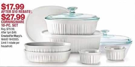 Macy S Black Friday Corningware 10 Pc Set For 17 99 After 00 Rebate See Deal